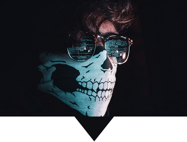 Computer Hacker With Skull Facemask and Creepy Sunglasses