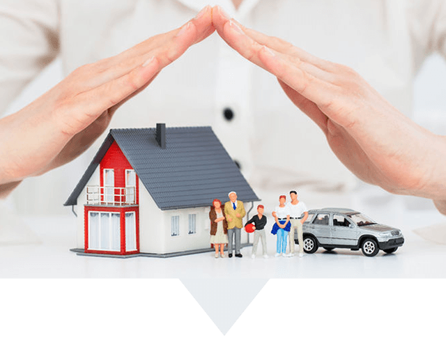 Hands covering tiny House Family and Car Representing Insurance Coverage