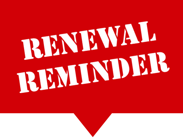 Renewal Reminder Stamp